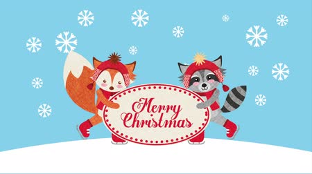 raccoon : happy merry christmas card with cute raccoon and fox ,hd video animation Stock Footage