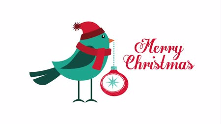 caligrafia : happy merry christmas card with cute bird ,hd video animation Stock Footage