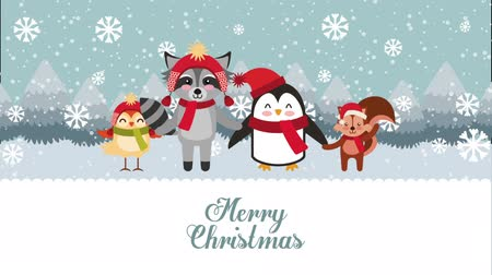 падуб : happy merry christmas card with cute animals ,hd video animation