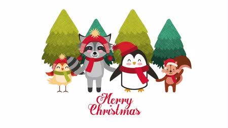 chipmunk : happy merry christmas card with cute animals ,hd video animation