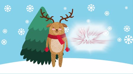 падуб : happy merry christmas card with cute reindeer ,hd video animation