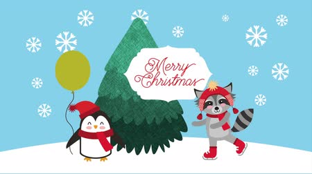 raccoon : merry christmas card with cute raccoon and penguin ,hd video animation
