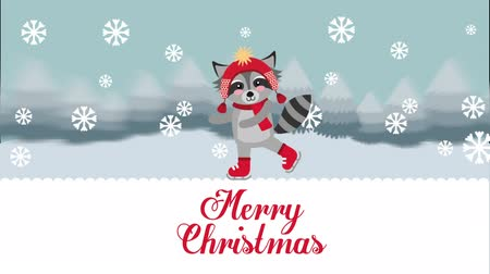 raccoon : happy merry christmas card with cute raccoon ,hd video animation Stock Footage