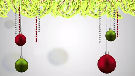 открытка : happy merry christmas card with balls hanging decoration ,hd video animation Стоковые видеозаписи