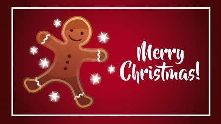 С Рождеством : happy merry christmas card with sweet ginger cookie ,hd video animation
