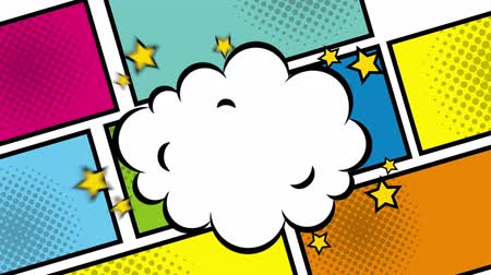 comics pop : squares colors and boomb explosion pop art style ,hd video animation