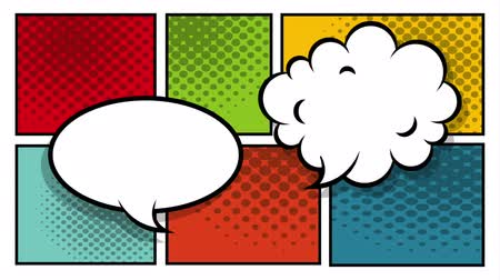 comics pop : speech bubble and cloud pop art style ,hd video animation Stock Footage