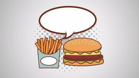 comics pop : speech bubble and fast food pop art style ,hd video animation Stock Footage