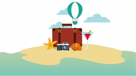 fotográfico : suitcase with set travel items ,hd video animation Stock Footage