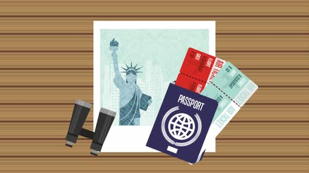 pasaport : ny picture with set travel items ,hd video animation