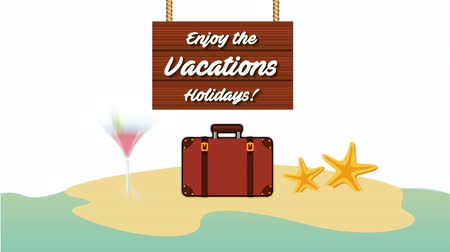 folheto : suitcase on the beach vacations scene ,hd video animation Stock Footage