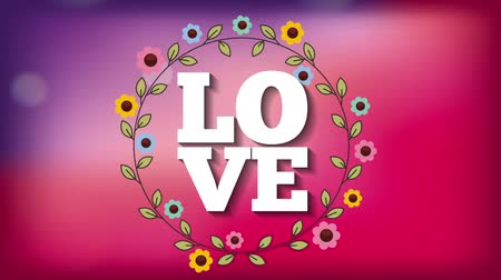 happy holidays : valentines card with floral crown ,hd video animation