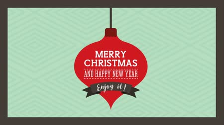 Новый год : happy merry christmas card with ball hanging ,hd video animation