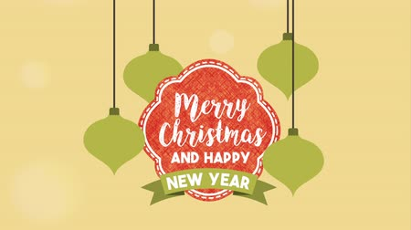 magyal : happy merry christmas card with frame and balls hanging ,hd video animation