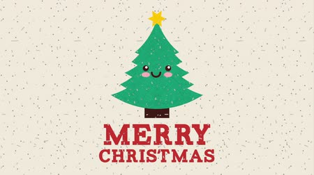 падуб : happy merry christmas card with pine tree ,hd video animation