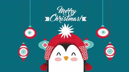 падуб : happy merry christmas card with little penguin ,hd video animation Стоковые видеозаписи