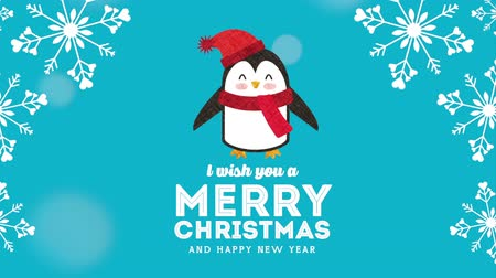 betűtípussal : happy merry christmas card with little penguin ,hd video animation Stock mozgókép