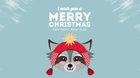 raccoon : happy merry christmas card with little raccoon ,hd video animation Stock Footage