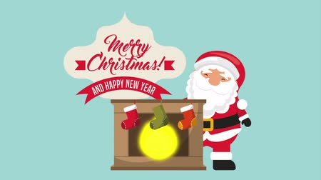 houx : happy merry christmas card with santa claus and chimney ,hd video animation