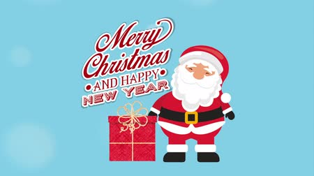 betűtípussal : happy merry christmas card with santa claus and gift ,hd video animation Stock mozgókép