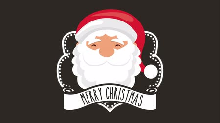открытка : happy merry christmas card with santa claus head and ribbon ,hd video animation Стоковые видеозаписи