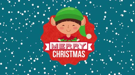 manó : happy merry christmas card with little elf character ,hd video animation