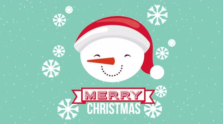 sněhulák : happy merry christmas card with snowman head ,hd video animation