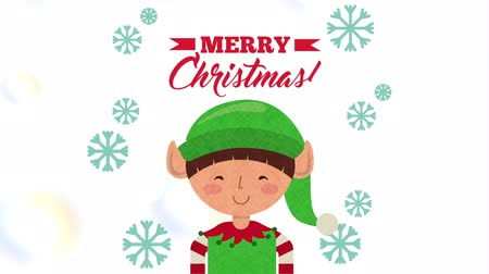 kalap : happy merry christmas card with little elf character ,hd video animation