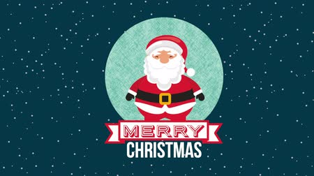 Новый год : happy merry christmas card with santa claus ,hd video animation