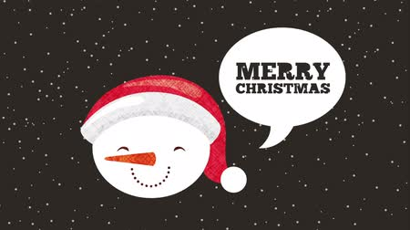 падуб : happy merry christmas card with snowman head ,hd video animation
