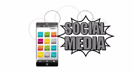 web sayfası : social media marketing with smartphone ,hd video animation Stok Video