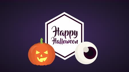 halloween pompoen : happy halloween celebration with pumpkin ,4k video animation Stockvideo