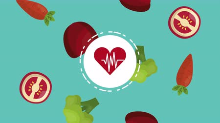 apple icon : heart cardio with healthy food ,4k video animation Stock Footage