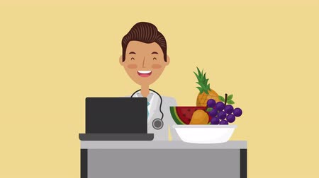 telemedicine : professional doctor with healthy lifestyle ,hd video animation