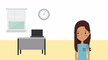 telemedicine : professional female doctor medical character ,hd video animation Stock Footage