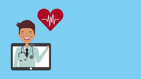 telemedicine : professional doctor medical character ,hd video animation Stock Footage
