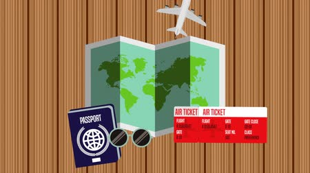 pasaport : paper map with travel items ,hd video animation