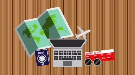 pas : laptop computer and travel items ,hd video animation Dostupné videozáznamy