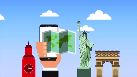 arch of triumph : hand with smartphone and travel items ,hd video animation