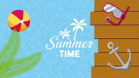 anchor : summer time enjoy vacations,4k video animation footage vacation Stock Footage