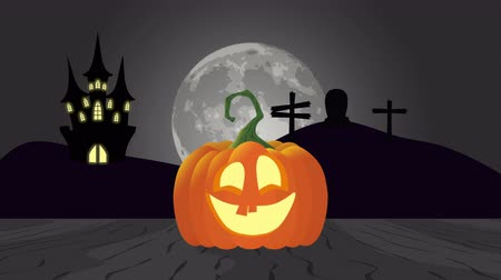 párat se : halloween scene in a cemetery with tomb and pumpkin , animation 4k video