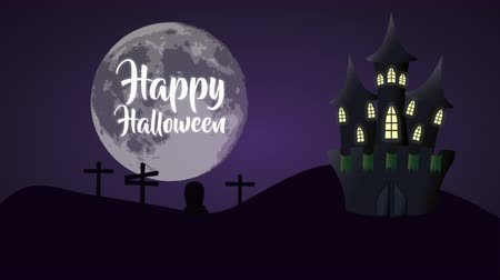 надгробие : Happy halloween card in a cemetery with a big moon and castle of terror, 4k video animation Стоковые видеозаписи