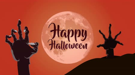 párat se : Happy halloween in a horror scene with a big moon and scary hand, animation