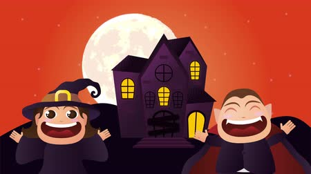 disguised : halloween dark scene with dracula and witch ,4k video animation Stock Footage
