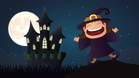 disguised : halloween dark scene with little witch ,4k video animation