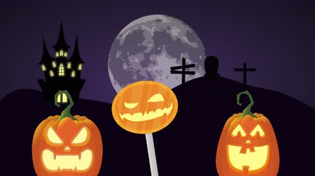 scenes : halloween dark scene with pumpkins in night ,4k video animation Stock Footage
