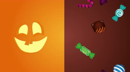 lollipop : halloween sweet candies and pumpkin face ,4k video animation Stock Footage