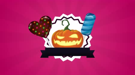 outubro : halloween sweet candies celebration icons ,4k video animation