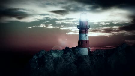 világítótorony : lighthouse on the cliff at night