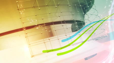 subtítulo : bright abstract background with colorful lines and construction Stock Footage